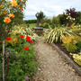 path into garden with mixed shrubs on both sides