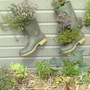 Yet More Wellies and a Straw Bale Planted with Vegetables