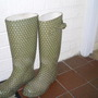 Dotty green wellies