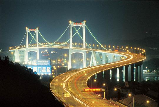 Xiamen city bridge Night scenery (city)