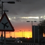 Sun setting over Heathrow