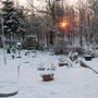 Snowy Sunrise Over The Cottage Garden