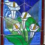 Arum lilies glass window xmas pressie
