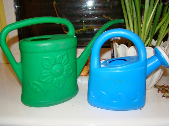 Two watering cans...