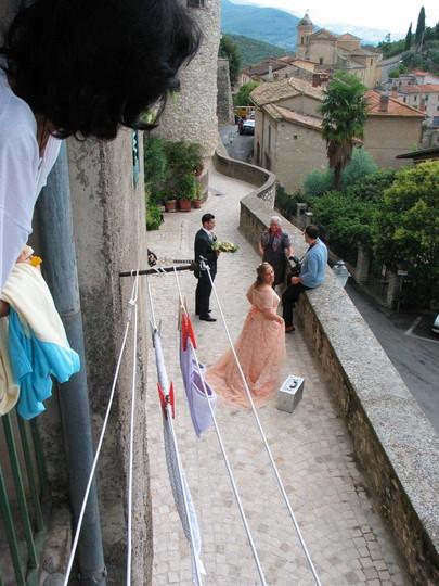 Me on balcony wishing the bride and groom well