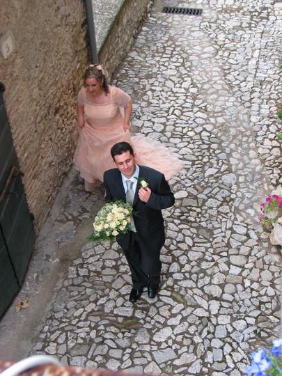 Bride (postlady) and Groom (town gardener) walking past my  front door