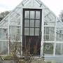 New door on greenhouse.
