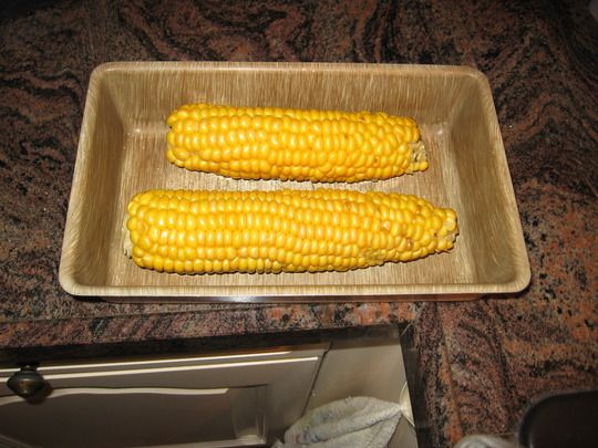 a long travel for two sweet corns (Zea mays (Sweetcorn))