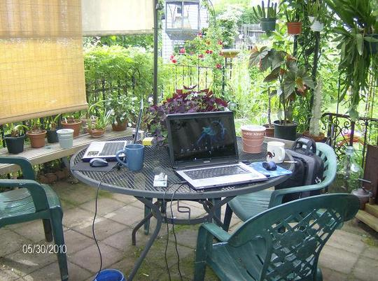 Laptops on the patio
