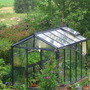 our greenhouse seen from upstairs (sheep in meadow in the background)
