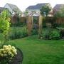 Garden with Nancy Evans in foreground