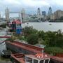 narrowboats with 'gardens' near Tower Bridge, London - August 2005