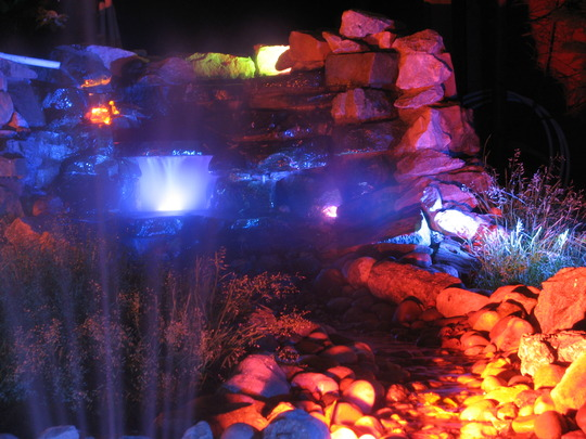 Waterfall and stream at night