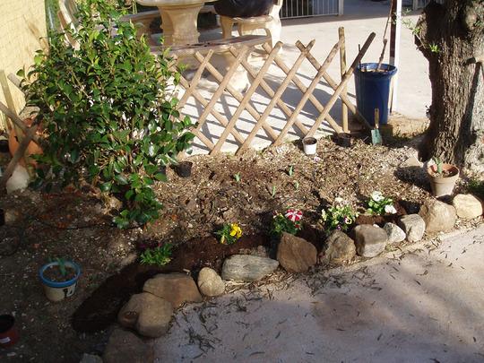 Small rock garden with trellis