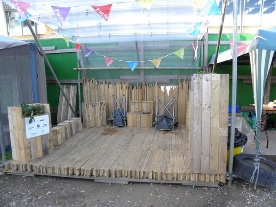 everything made with old pallets at the Kings Cross Skip Garden in London - 250910