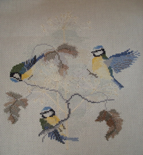 Cross stitch, Blue tits with seed heads