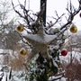 Outside decorations enhanced by snow