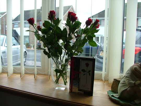 valentine roses and handmade card