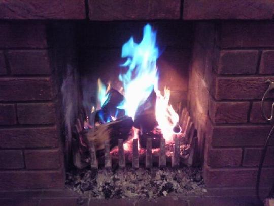 Blazing log fire