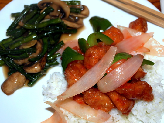 Sweet nsour chicken and chinese long bean w mushroom.