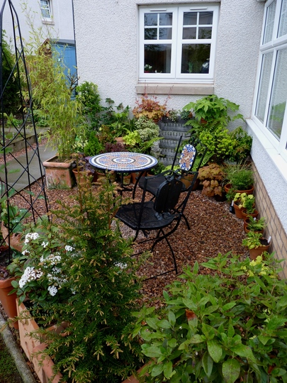 The Shady corner with potted plantings