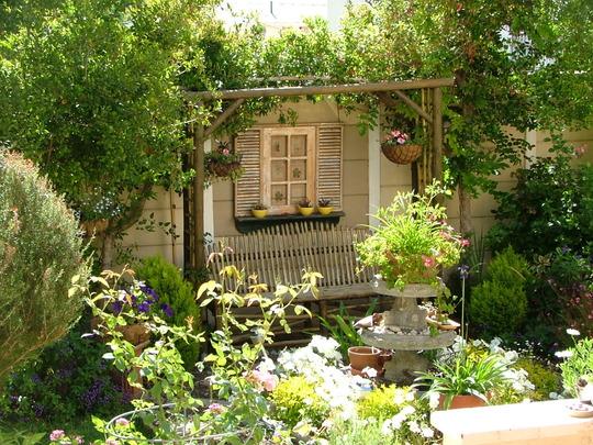 Garden bench made from alien vegetation..