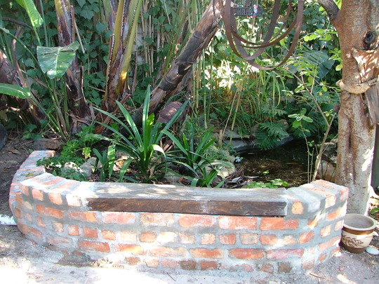 Building a seat at the fishpond