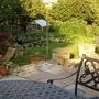 A little evening sun from the new (still not finished)! terrace over the veg garden.