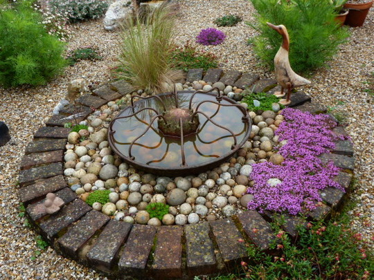 Pigs Trough water feature on my gravel garden
