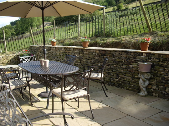 The terrace with a glimpse of the plant pot stand wine chiller
