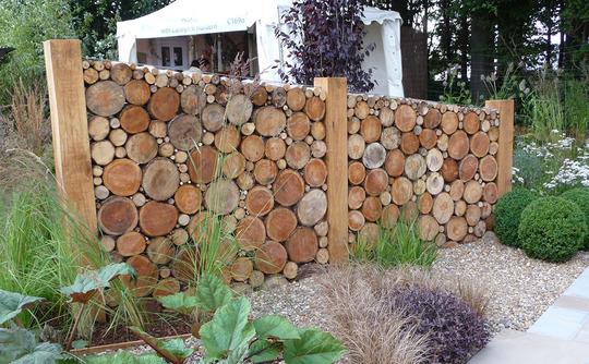 Log Wall at RHS Tatton Park Show