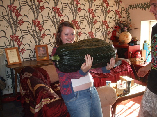 sons girlfriend Emma and the 50 lb marrow...:-)
