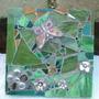 Green butterfly/flower mosaic