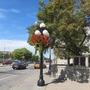 Flowers on the lightpost!