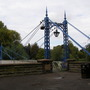 wonderful blue and white suspension bridge built in the late victorian period.