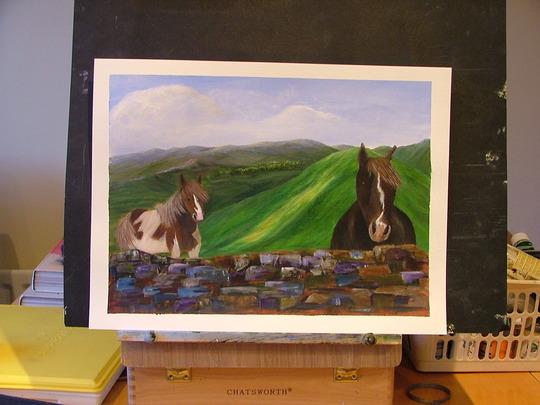 horses at the wall