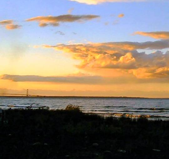 Sunset near Mackinaw bridge