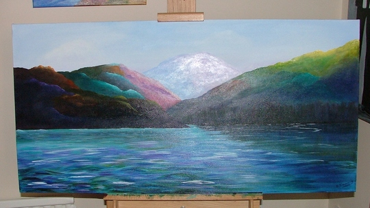 Loch and mountains painting