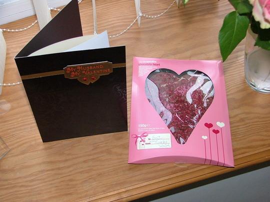 card and chocolate heart