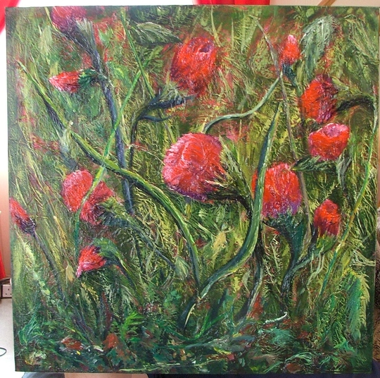 """my latest painting, now named """"crimson entanglement"""""""