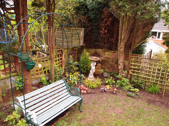 New arch in place with climbing rose and honeysuckle growing