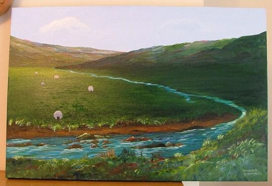 my latest painting(as rain stops gardening)