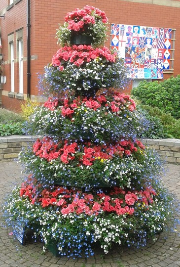 tower of flowers at Garstang