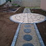 Circle and pathway in vegetable garden