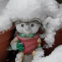 Flowerpot man in snow