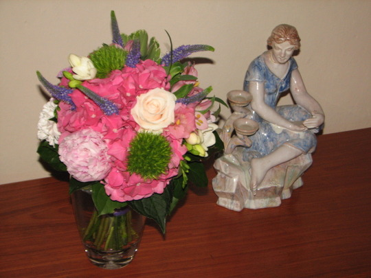 A bunch of flowers from my mother.