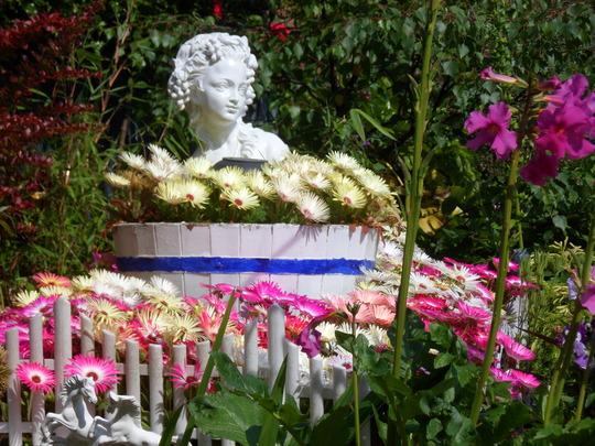 flower cart in back garden