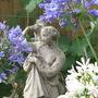 Agapanthus and statue.