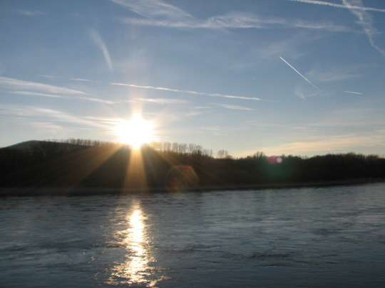 Sunset on the river Danube.