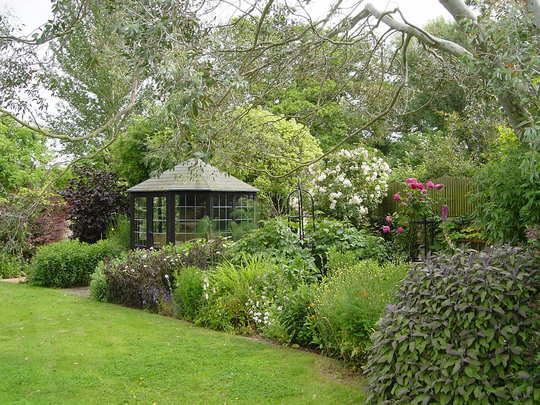 The summer house and the wide border